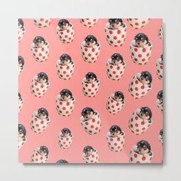 kawaii cute pink polka dots teacup puppy dog Metal Print