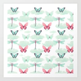 Pink teal watercolor clouds dragonfly butterfly pattern Art Print