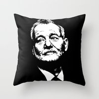 bill murray Throw Pillows featuring Bill Murray by Laura Lindsey