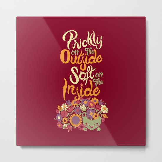 Prickly On The Outside Soft On The Inside Hedgehog Flower Metal Print