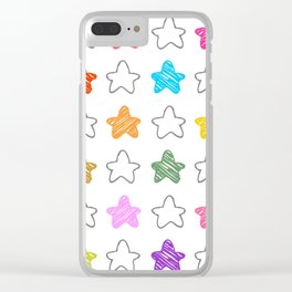 Colorful Collection of Childish Pencil Sketch Stars Artistic Abstract Clear iPhone Case