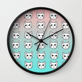 Whimsical White Cats Mint Pink Pattern Wall Clock