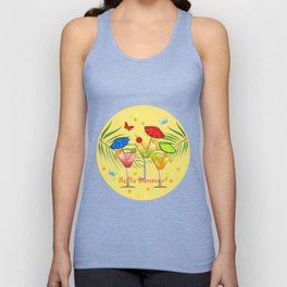 Hello Summer, vector illustration with text Unisex Tank Top