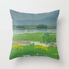 Kawase Hasui Vintage Japanese Woodblock Print Flooded Asian Rice Field Mountain Parallax Landscape Throw Pillow