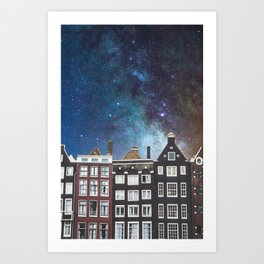 Amsterdam Nertherlands At Night-Canal Houses Art Print