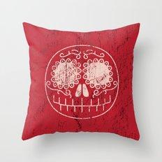 Distressed Sugar Skull Throw Pillow