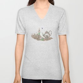 4 o'clock tea London Map Unisex V-Neck