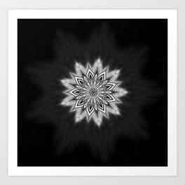 Black Ice Mandala Swirl Art Print