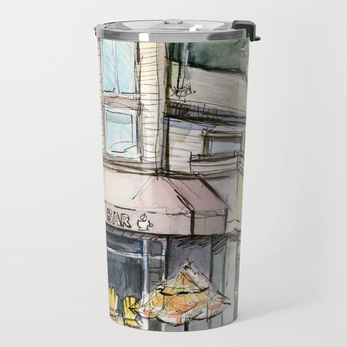 Coffee Shop Art Urban City Watercolor Travel Mug