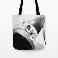 frog Tote Bags featuring Frog by donotseemeart