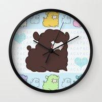 alpaca Wall Clocks featuring Little alpaca by Lady Cibia