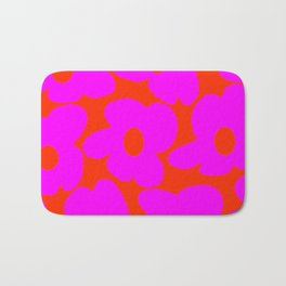 Pink Retro Flowers Orange Red Background #decor #society6 #buyart Bath Mat