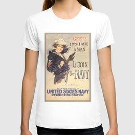 Gee Navy Girl WW1 Vintage Propaganda Poster T-shirt