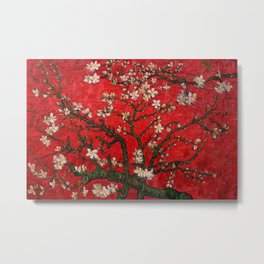 Almond Blossoms Red Vincent Van Gogh Metal Print