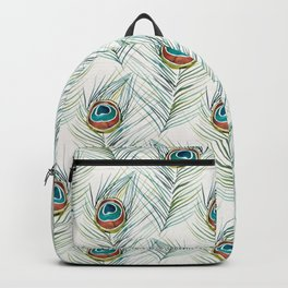 Peacock Tail Feather – Watercolor Backpack