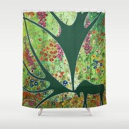 Green Garden Moose Shower Curtain