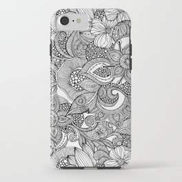 Flowers and doodles iPhone Case
