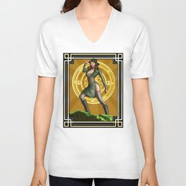 Circadian Circle 1950s World War II Woman Wizard Unisex V-Neck