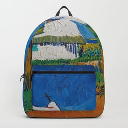 Three White Cottages In Saintes Maries By Vincent van Gogh Backpack