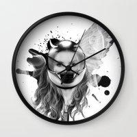harley Wall Clocks featuring harley girl by mark ashkenazi