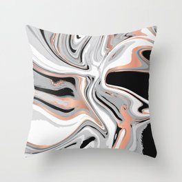 Liquid Marble with Copper Lines 015 Throw Pillow
