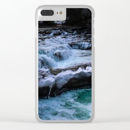 Dreamy Winter Waterfall Clear iPhone Case