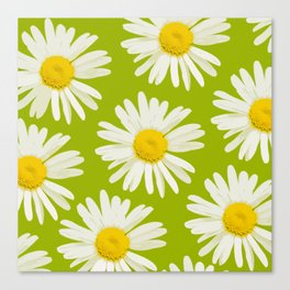 Daisies on a vivid green background - #Society6 #buyart Canvas Print