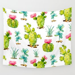 Green Cactus Watercolor Wall Tapestry