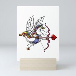 Cute Unicorn Cupid Valentines Day Mini Art Print