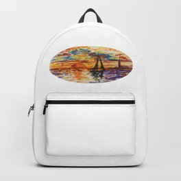Sail Boat Watercolor Painting Backpack