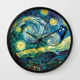 Tardis Art Starry Painting Night Wall Clock
