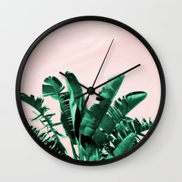 Turquoise Banana and palm Leaves Wall Clock