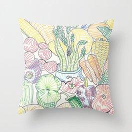 Vegetable Cornucopia Throw Pillow