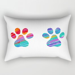 Two Cats Colorful Paws Rectangular Pillow