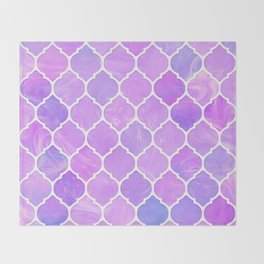 Pink and purple glass Moroccan print Throw Blanket