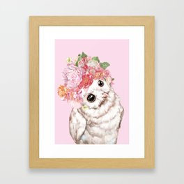 Snowy Owl with Flowers Crown Framed Art Print