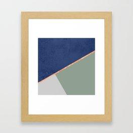Navy Sage Gray Gold Geometric Framed Art Print