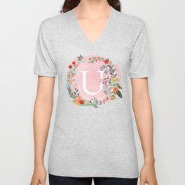 Flower Wreath with Personalized Monogram Initial Letter U on Pink Watercolor Paper Texture Artwork Unisex V-Neck