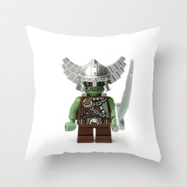 Green Minifig with a helmet and sword Throw Pillow