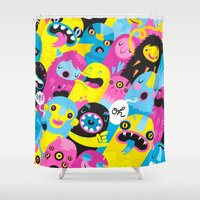 monsters Shower Curtains featuring Monsters by Lienke Raben