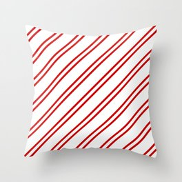 Red Diagonal lines pattern Throw Pillow