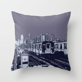 New York, NYC, Subway Train Yard at Night. (Photo collage, travel, gritty streets, graffiti) Throw Pillow