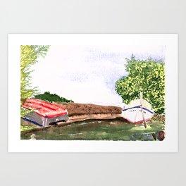 Cape Red boats Art Print
