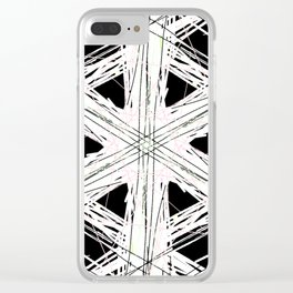 Black & white rattan pattern w/ peekaboo pink and green strings Clear iPhone Case