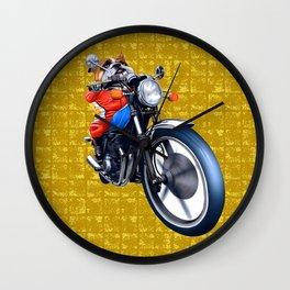 A Bulldog Riding Bike on Gold-leaf Screen Wall Clock