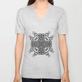 Hold it high - joyful mandala - black and white doodle Unisex V-Neck