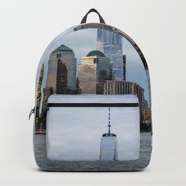 Sailing boat against skyline of New York Backpack