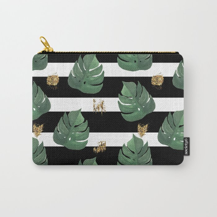 Seamless tropical leaves pattern on stripes background. Greens leaves of exotic monstera plant. Retr Carry-All Pouch