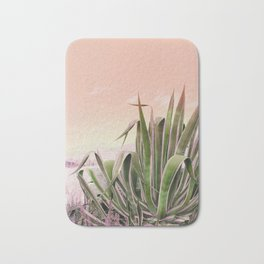 Agave in the Garden on Pastel Coral Bath Mat
