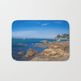 Boats And Rocky Shore Bath Mat